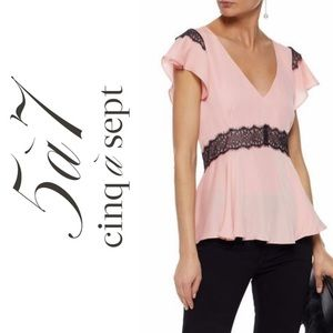 Cinq á Sept Naeve Blouse Top with ruffle sleeves